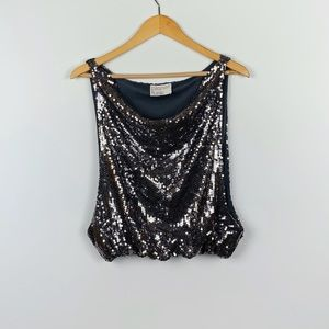PLANET FUNK grey/blue sequin top size S